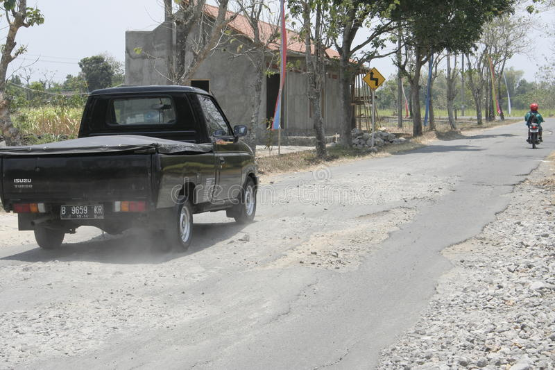The boundary district. City road infrastructure leprosy in Sukoharjo often damaged because of impassable trucks haul exceed the limit royalty free stock photo