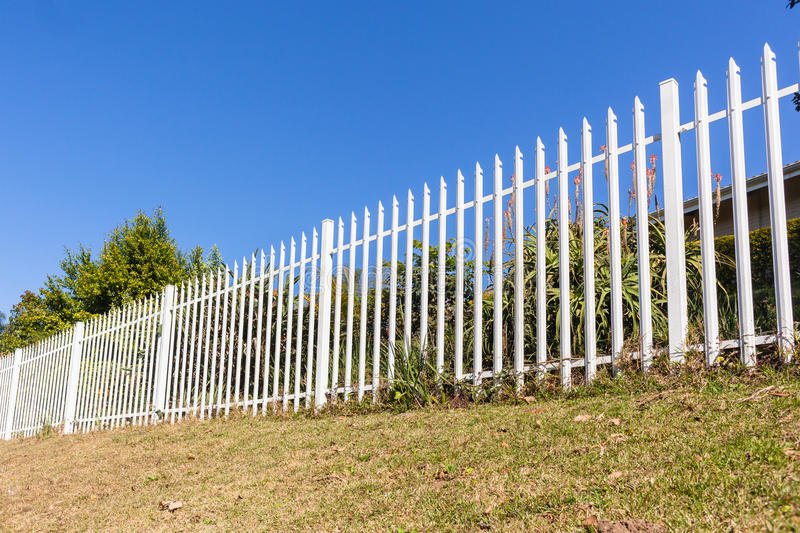 Boundary Fence White Steel stock images