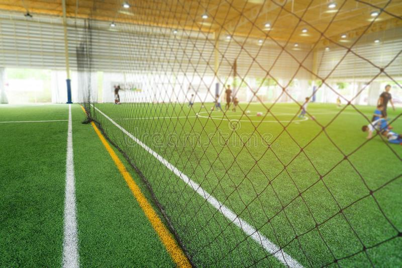 Boundary Line of indoor football soccer training field. Boundary Line of an indoor football soccer training field royalty free stock photo