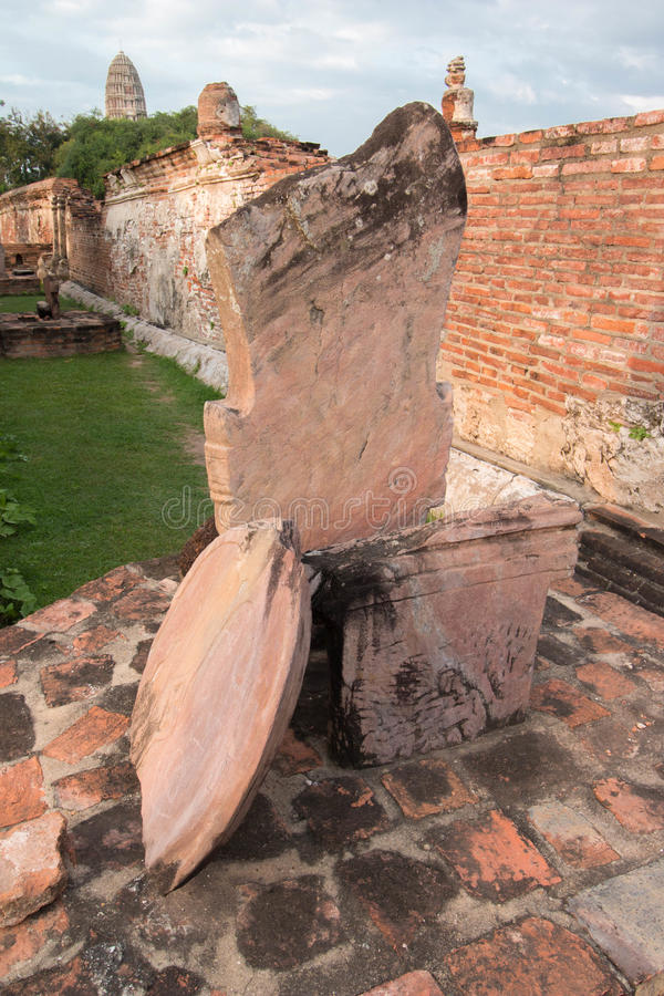 Boundary marker of Wat Mahathat Temple in Wat Mahathat, Ayutthaya, Thailand royalty free stock images
