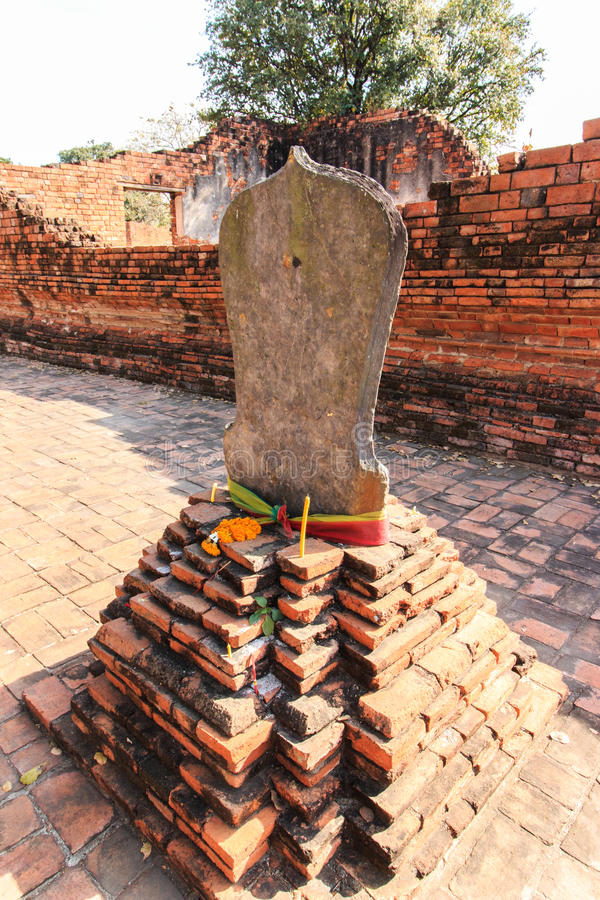 Boundary Marker of Wat Worachet Temple ,The Ancient Siam Civilization of Ayutthaya Thailand stock photography