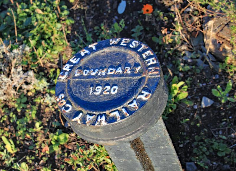 Boundary marker on the West Somerset heritage railway at Blue Anchor.  royalty free stock photos