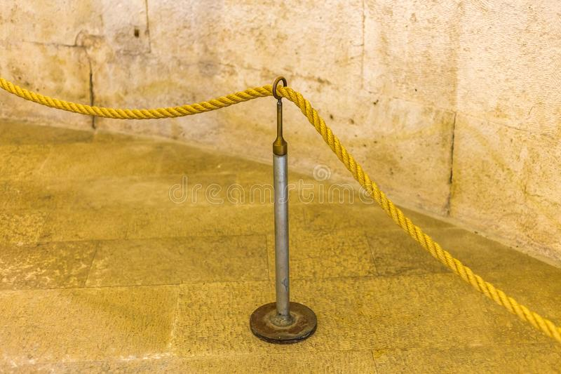 Boundary Rope. On Metal stand royalty free stock photos