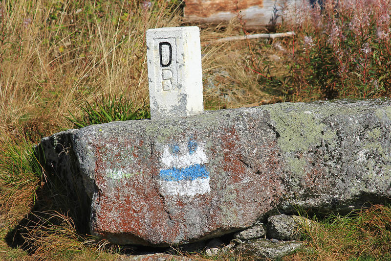 Boundary stone. In the Bavarian Forest between Germany and the Czech Republic royalty free stock photography