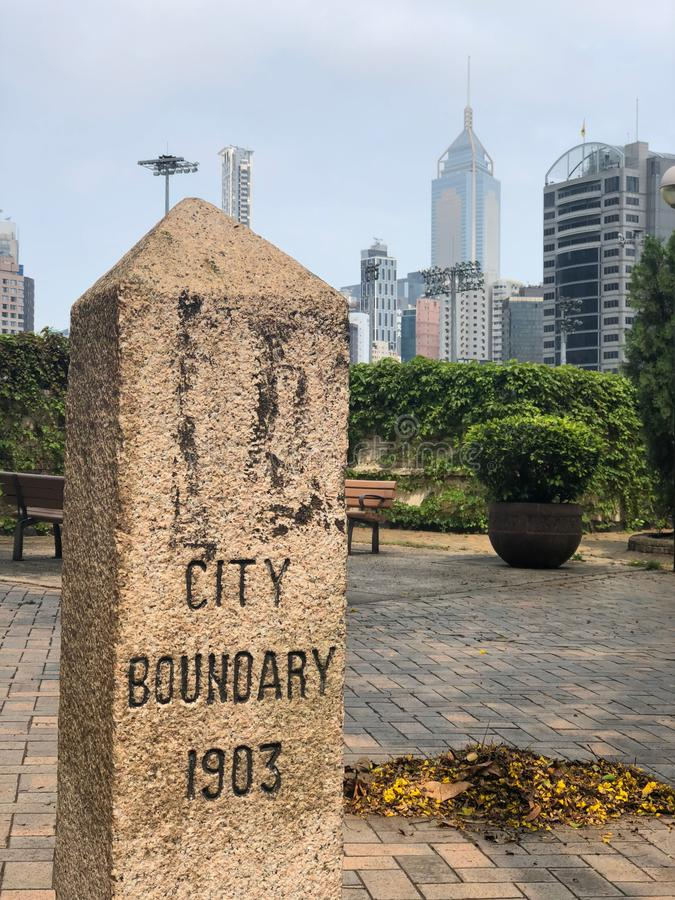 Boundary Stone of City of Victoria HK 1903. One of 7 boundary stones erected by HK Governament in 1903 to mark the limits of the City of Victoria stock photos