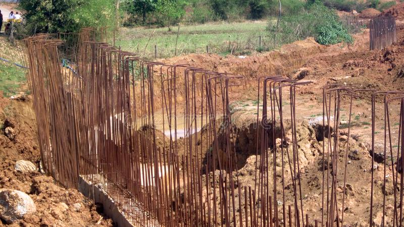 Boundary Wall Construction at NMDC Steel Plant ,Nagarnar. Outside boundary wall Construction royalty free stock image