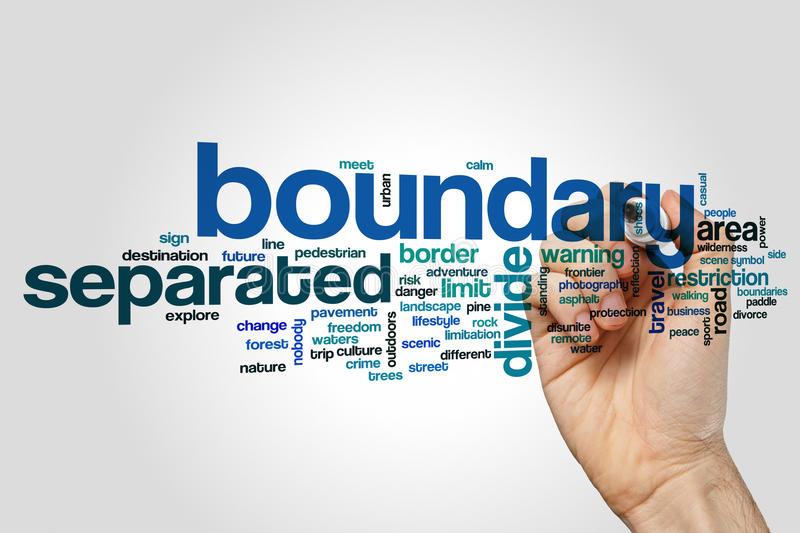 Boundary word cloud. Concept on grey background stock photos
