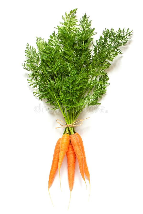 Boundle de groupe des carottes juteuses oranges fraîches avec les dessus verts luxuriants attachés avec l'isolat de corde sur le  images stock