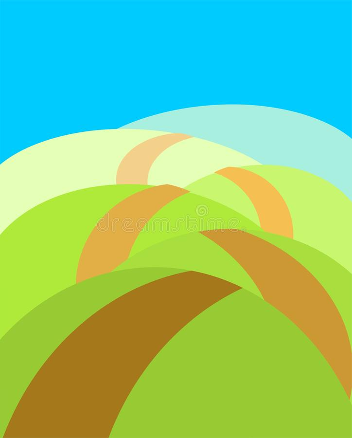 Boundless meadows with path. Summer landscape. Vector illustration stock illustration