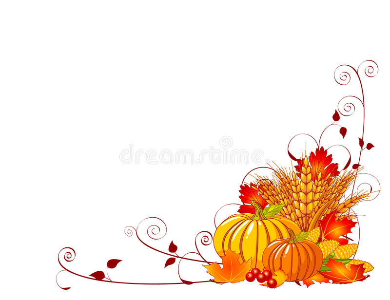 Bountiful Harvest. Seasonal background with plump pumpkins, wheat, corn and autumn leaves