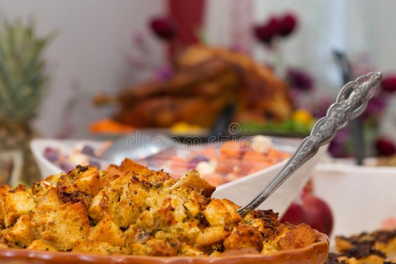 Delicious extravagant thanksgiving turkey dinner royalty free stock images