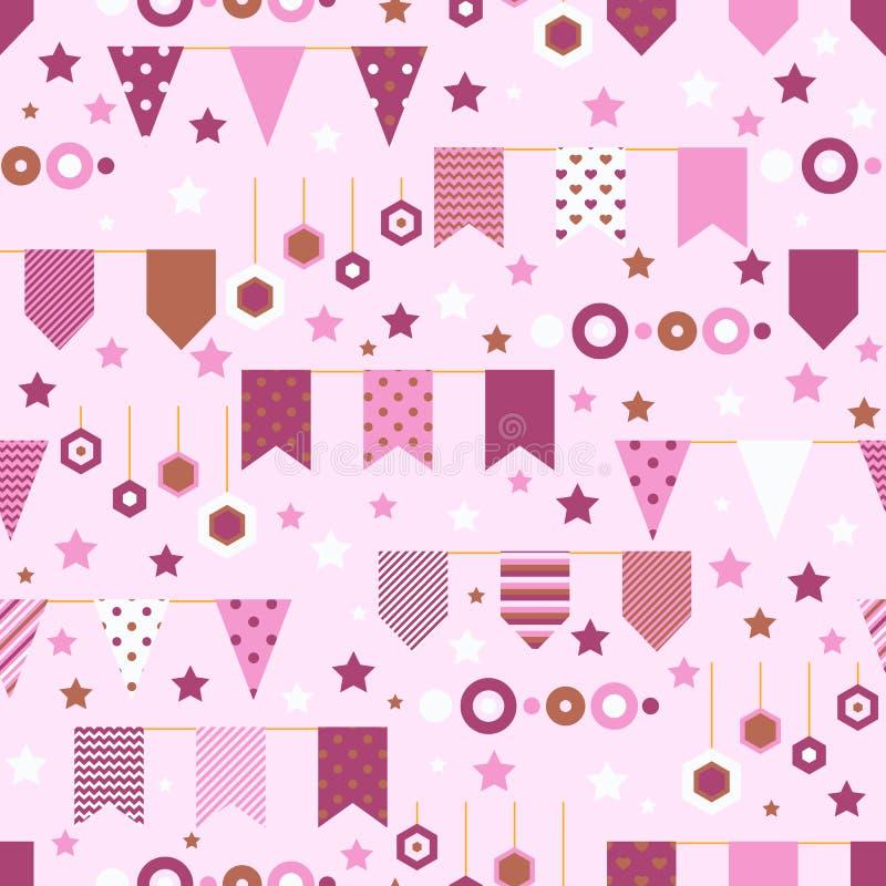 Bounting diminue, les étoiles et le modèle sans couture d'éléments décoratifs de cercles Cartes de voeux d'anniversaire et copie  illustration libre de droits