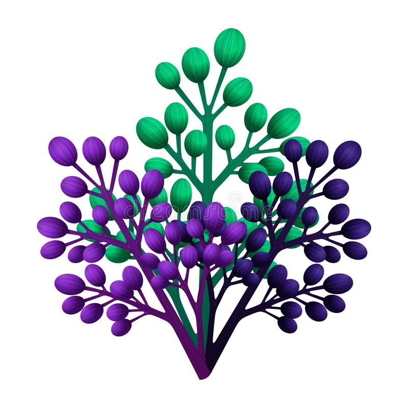 Bouqet of branches. Botanical clipart. Green and violet leaves, herbs and branches. Floral Design elements. Perfect for. Wedding invitations, greeting cards stock illustration