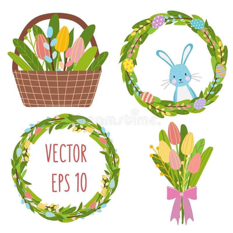 Bouqet de fleurs de tulipes de ressort de Pâques, guirlande de fleur, éléments d'oeufs illustration stock