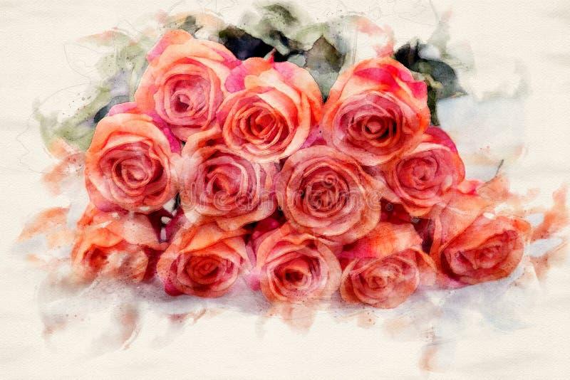 Bouqet de rosas anaranjadas en una tabla libre illustration