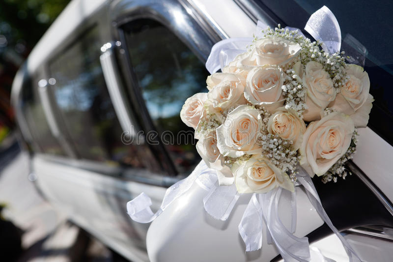 Bouqet and Limo stock photo