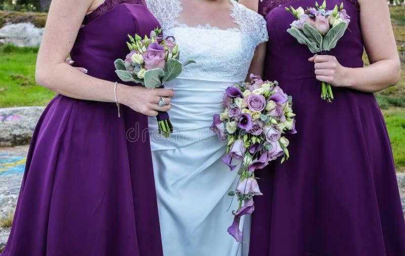 Bouqets für eine Hochzeit stockfotos