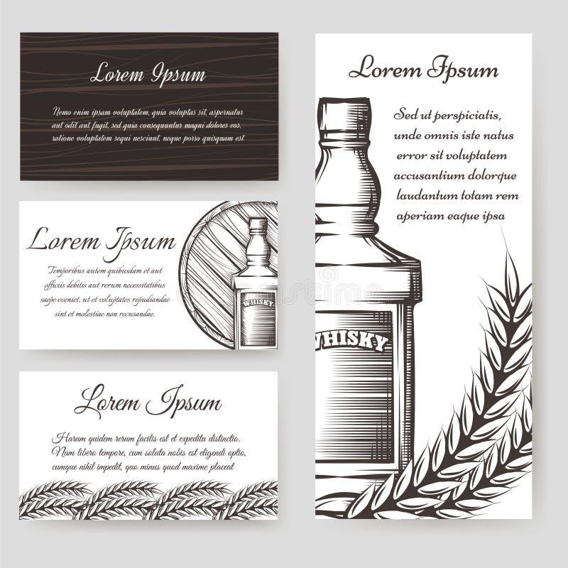 Download Bouqlet De Whiskey Et Calibres De Cartes Réglés Illustration de Vecteur - Illustration du ligne, alcoolisme: 76090661