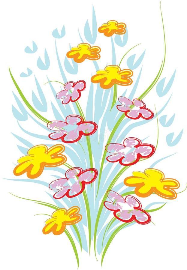 Bouquet. Ne brush stroke bouquet drawing art work stock illustration