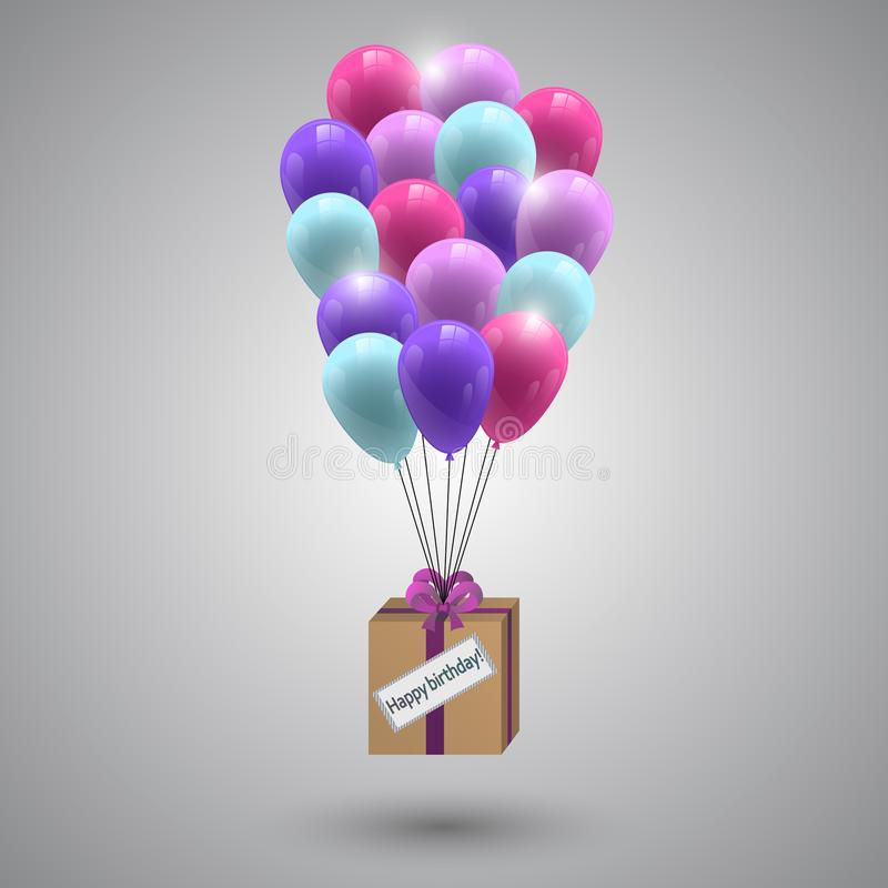 A bouquet of air colored balloons, and a gift in a box with a bow of ribbon, in honor of the birthday. royalty free illustration