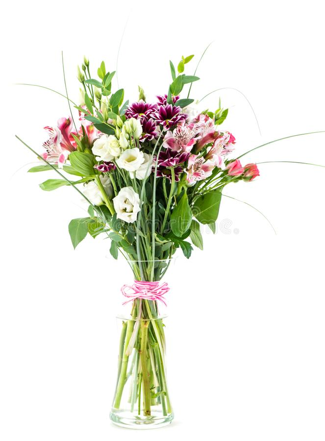 Bouquet of alstroemeria, chrysanthemum and eustoma in a vase iso stock photo