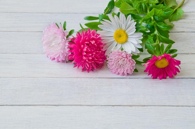 Bouquet of aster on a white wooden table royalty free stock photo