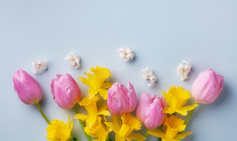 Bouquet av vackra vårblommor på pastellblå bakgrundsvy Mottagningskort för mödrar eller kvinnor Plattlägg arkivbilder