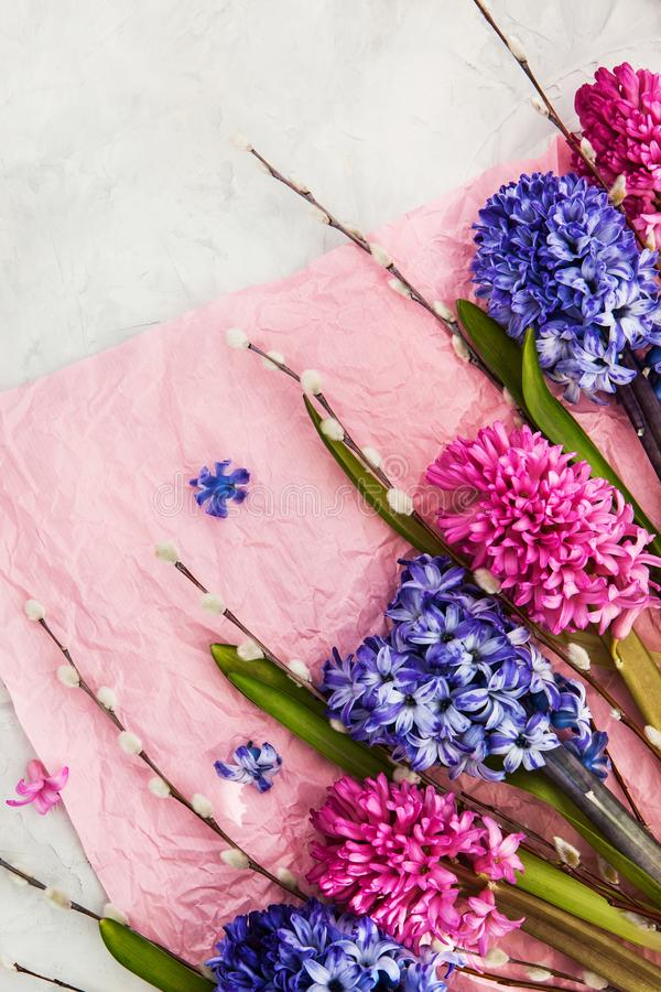 Bouquet of beautiful flowers - blue and pink hyacinths and willow, Spring or Easter concept royalty free stock photo