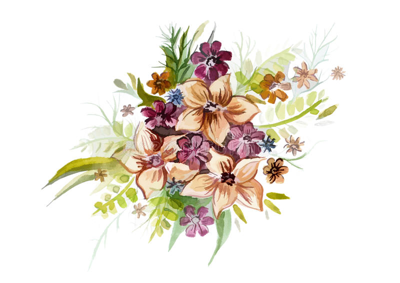 Bouquet of beautiful flowers with leaves. Beautiful bouquet of beautiful flowers with leaves vector illustration