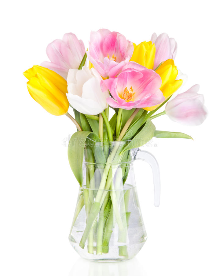 Bouquet of beautiful tulips flowers in vase isolated on white royalty free stock photo