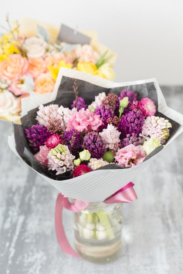 Bouquet Of Beautiful Violet And Pink Hyacinths. Spring Flowers In ...