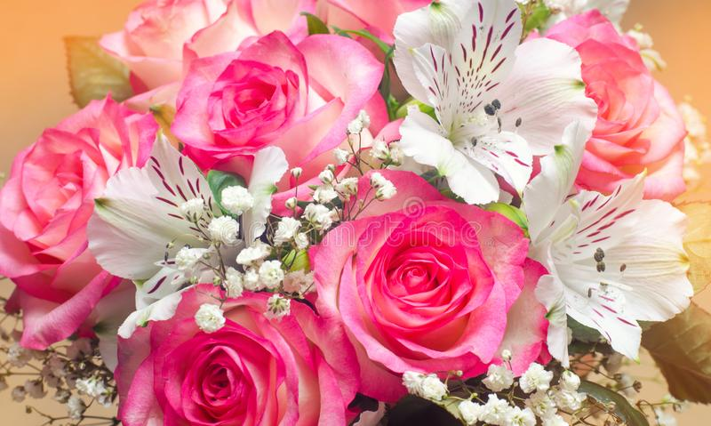 A bouquet of beautiful wedding flowers, pink roses. close up royalty free stock images