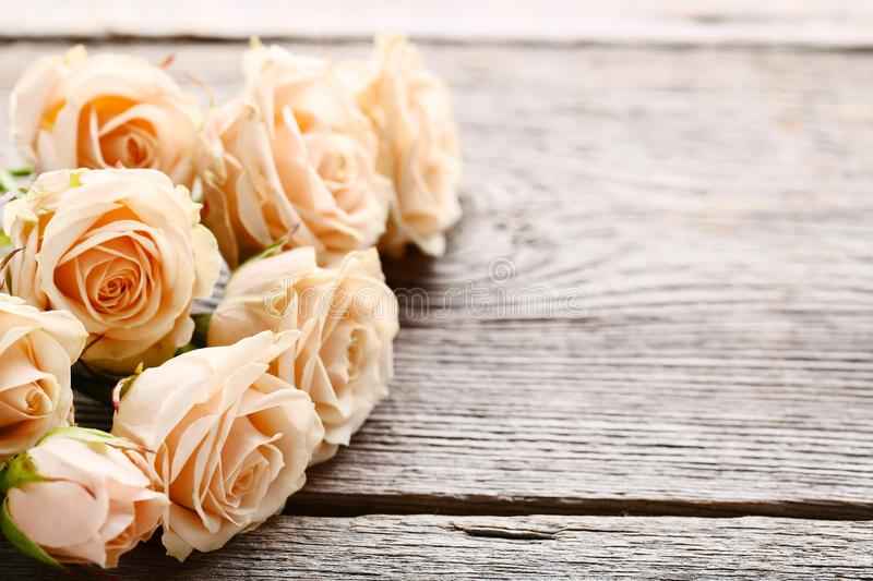 Bouquet of beige roses. On grey wooden table stock photos
