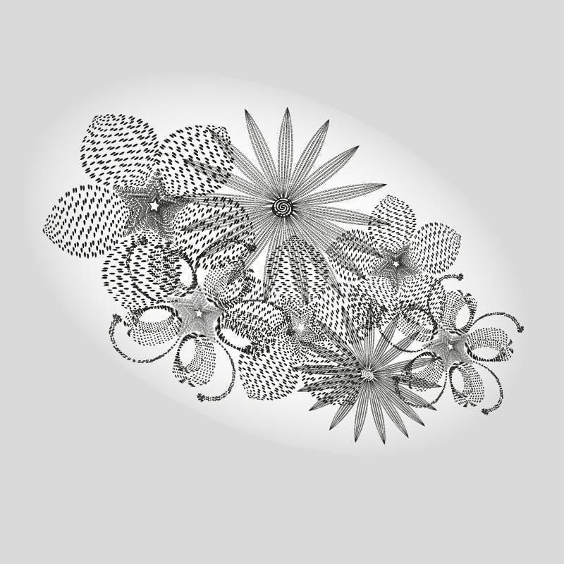 Bouquet blanc noir de dessin illustration libre de droits