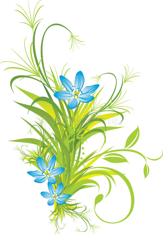 Bouquet of blue flowers with grass stock illustration