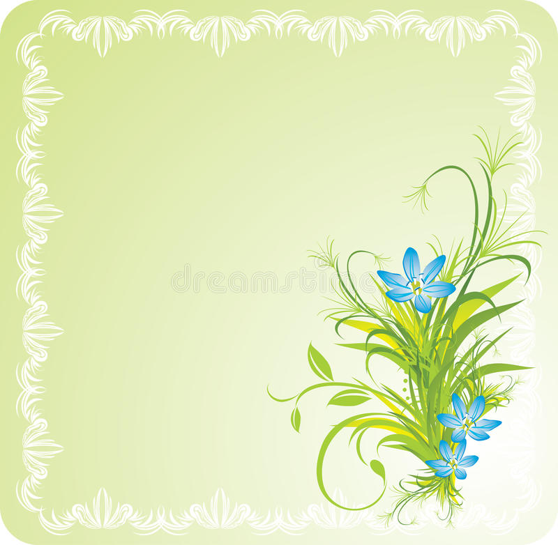 Bouquet of blue flowers with grass in the frame royalty free illustration