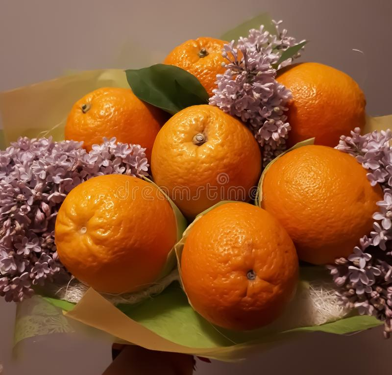 Bouquet, fruit, flowers, beautiful, bright,  colourful royalty free stock images