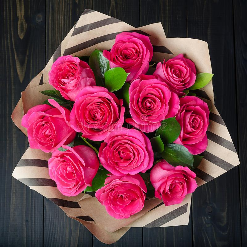 Bouquet of bright pink roses royalty free stock photography