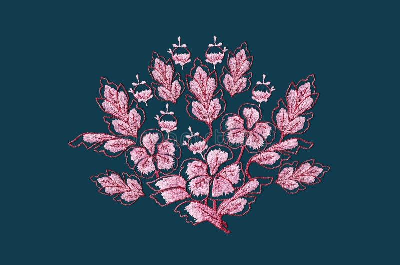 Bouquet brodé de point de satin des fleurs roses rouges avec des feuilles sur le fond bleu gris illustration de vecteur
