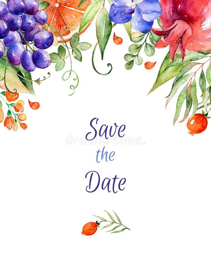 Bouquet-cadre floral d'aquarelle colorée avec des roses, feuilles, grenade, orchidées, calla, raisins illustration libre de droits