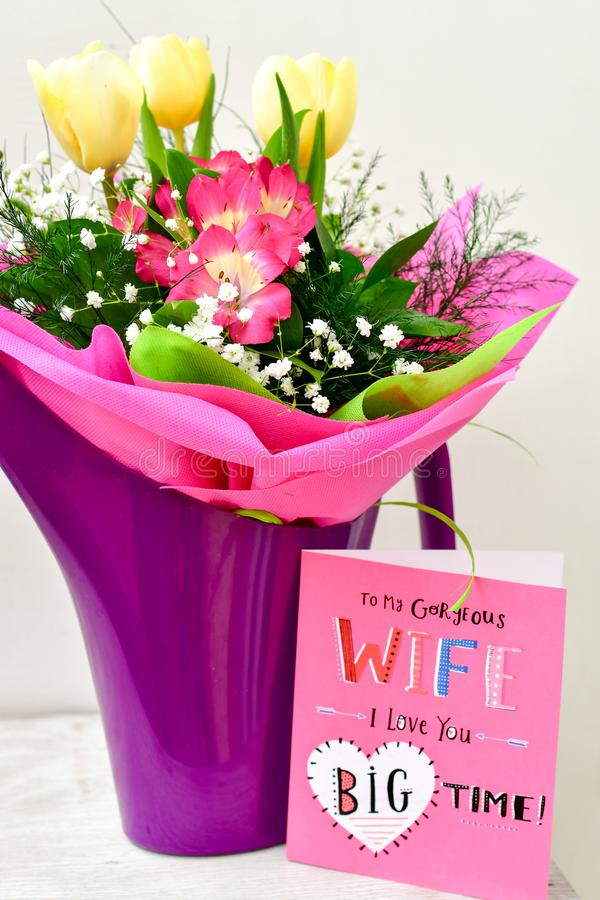 Bouquet and card stock image