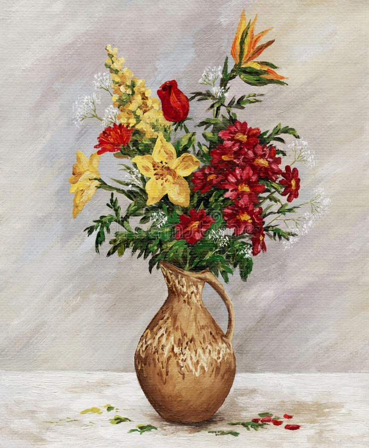 Bouquet in a ceramic jug. Picture oil paints on a canvas: a bouquet in a ceramic jug stock illustration