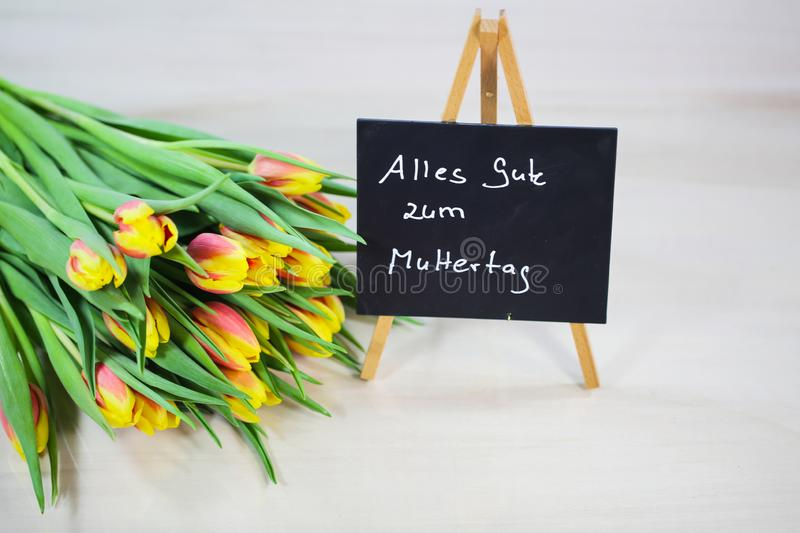 Bouquet with chalk board, Happy Mother`s Day stock photos