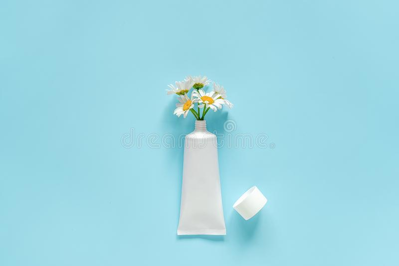 Bouquet of chamomile flowers from cosmetic, medical white tube for cream, ointment, toothpaste or other product. Concept stock images