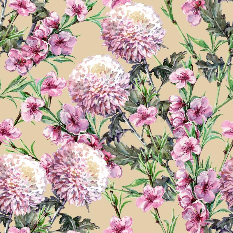 Bouquet Chrysanthemum with Peach Flowers of Watercolor. Floral Seamless Pattern on a Ginger Root Background. Bouquet Chrysanthemum with Peach Flowers Watercolor royalty free illustration