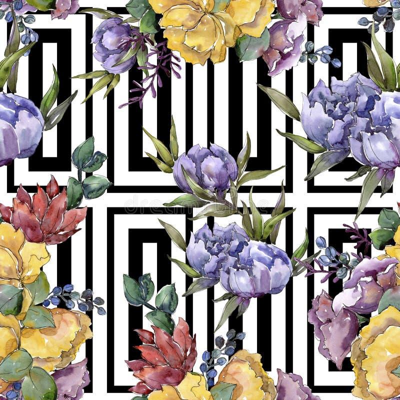 Bouquet coloré Fleur botanique florale Modèle sans couture de fond Texture d'impression de papier peint de tissu illustration de vecteur