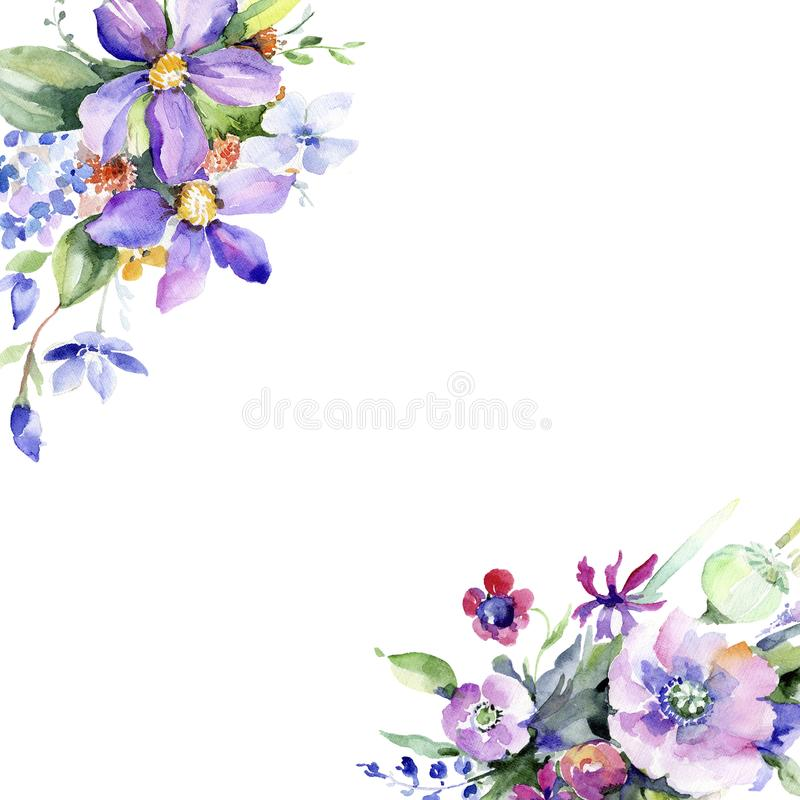 Bouquet coloré Fleur botanique florale Place d'ornement de frontière de vue illustration stock