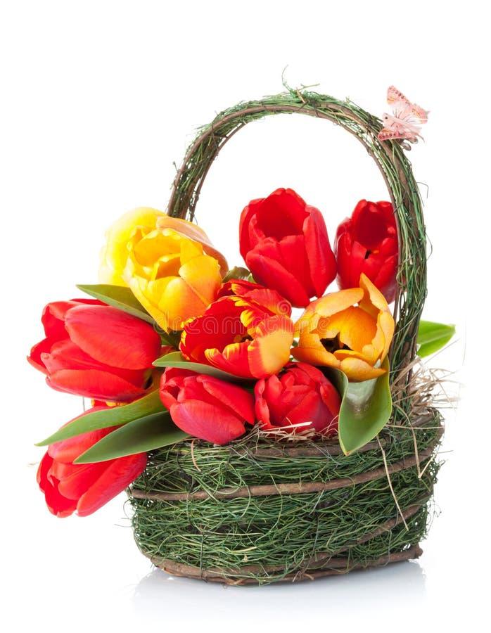 Bouquet coloré frais de tulipes dans le panier photographie stock