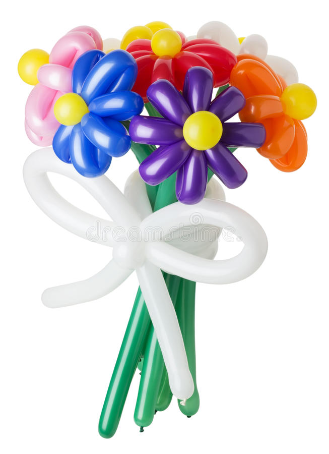 Bouquet With Colorful Balloon Flowers On White Background Stock ...