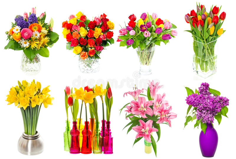 Bouquet of colorful flowers. tulips, roses, lilac, narcissus, li royalty free stock photo